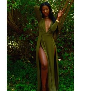 Olive green dress with two high slits